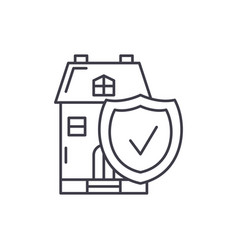 real estate insurance line icon concept real vector image