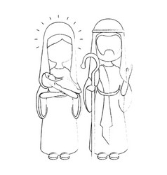 Saint joseph and virgin mary icon vector