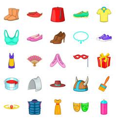 scenery icons set cartoon style vector image