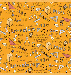 School kids seamless pattern with education vector