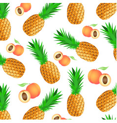 seamless background with ripe pineapples and vector image