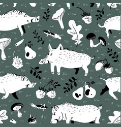 Seamless pattern with cute boars background with vector