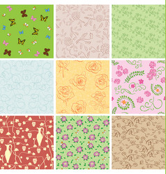 Seamless patterns with plants and butterflies vector