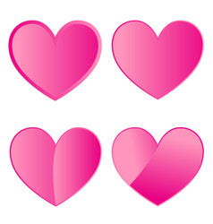 Set of four pink hearts on white background vector