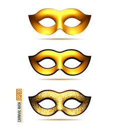 Set of golden carnival mask vector