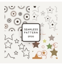 set of seamless geometric patterns with vector image