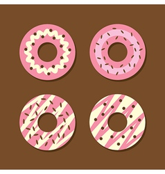 Set Of Strawberry Donuts vector image