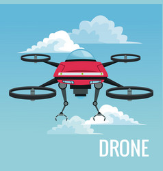 Sky landscape background robot drone with metal vector