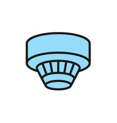 Smoke detector alarm system flat color line icon vector