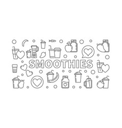 Smoothies concept linear horizontal banner vector