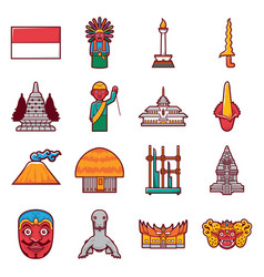 stock icon indonesia travel label landmarks vector image