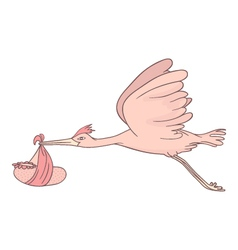 Stork flying with baby vector