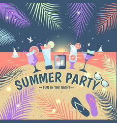 summer party lemonade colorful card vector image