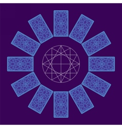 Tarot cards back side zodiac circle sread vector