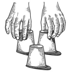Thimblerigger hands engraving vector