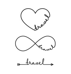 Travel - word with infinity symbol hand drawn vector