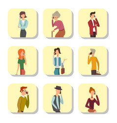 trendy flat people with phone gadgets cards group vector image
