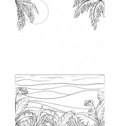 Tropical landscape outline vector image