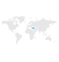 Turkey marked by blue in grey world political map vector
