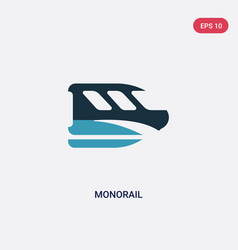 Two color monorail icon from transportation vector