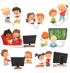 video gaming peoples kids boys and girls console vector image