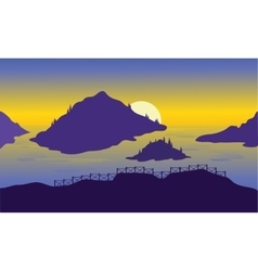 View of highlands on the sea at night vector
