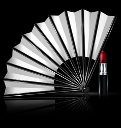 white fan and lipstick vector image