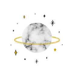 With saturn with marble texture trendy cosmic vector
