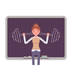 Woman against the blackboard with drawn barbell vector image