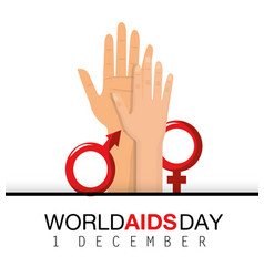 Woman and man hands to aids day vector