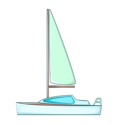 Yacht with sails icon cartoon style vector image
