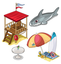 Isolated set of beach rest attributes vector