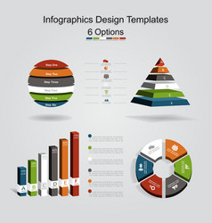 Set of infographics design template with 6 options vector image
