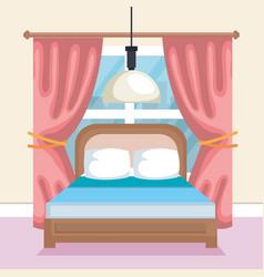 bed room scene icon vector image vector image