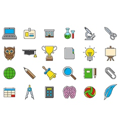 Colorful school elements icons set vector image vector image