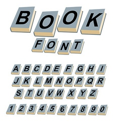 Font book Alphabet on covers of books ABCs of log vector image vector image