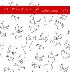 seamless pattern fashion set in hand drawing style vector image vector image