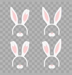 set of easter mask with rabbit ears isolated on vector image vector image