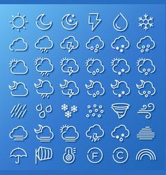 weather line icon set vector image