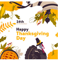 banner frame with cartoon thanksgiving symbols vector image