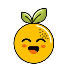 color kawaii happy orange icon vector image vector image