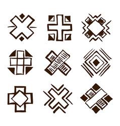 crosses ethnic elements vector image