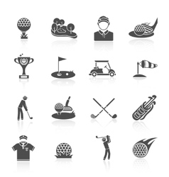 Golf icons set black vector image