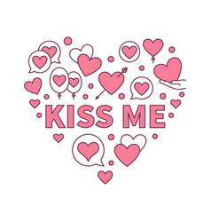 kiss me colored heart modern vector image
