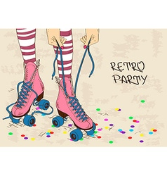 with female legs in retro roller skates vector image