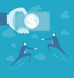 Business man fly to catch money vector image