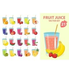 Fruit juice in glass set vector image