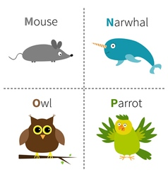Letter M N O P Mouse Narwhal Owl Parrot Zoo vector image
