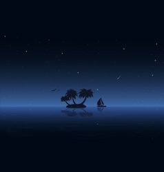 Night water and boat vector image