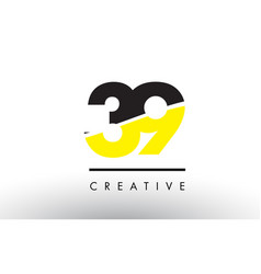 39 black and yellow number logo design vector